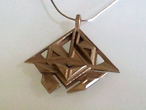 Pendant DANU in Polished Bronzed Silver Steel