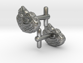 Anatomical Brain Cufflinks in Natural Silver