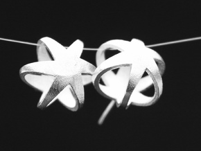3D STAR GLITZ STUD EARRINGS in Natural Silver