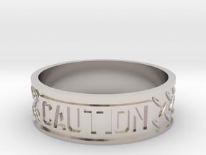 Caution sz12 US in Rhodium Plated Brass