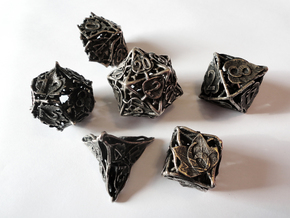 Botanical Dice Set in Polished Bronzed Silver Steel