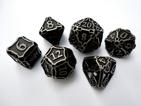 Large Premier Dice Set in Polished Bronzed Silver Steel
