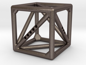 Cube with Tetrahedron inside in Polished Bronzed Silver Steel