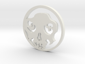 Day of the Dead Pendent in White Natural Versatile Plastic