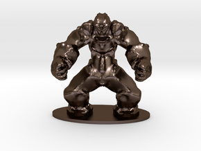 Rock Golem Earth Elemental Miniature in Polished Bronze Steel