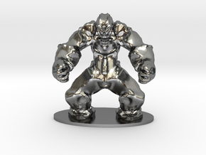 Rock Golem Earth Elemental Miniature in Polished Silver