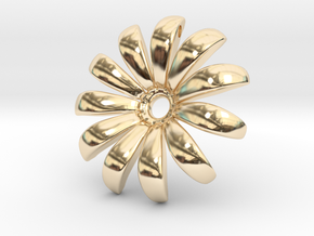 Daisy Pendant Shapeways in 14k Gold Plated Brass