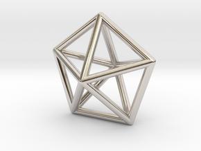 0307 J13 Pentagonal Bipyramid E (a=1cm) #1 in Rhodium Plated Brass