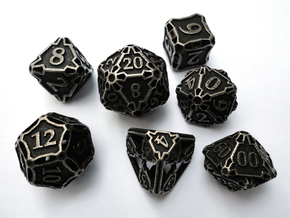 Large Premier Dice Set with Decader in Polished Bronzed Silver Steel