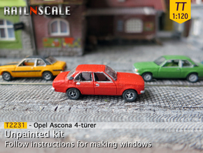 Opel Ascona 4-Türer (TT 1:120) in Smooth Fine Detail Plastic