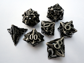 Pinwheel Dice Set with Decader in Polished Bronzed Silver Steel