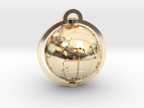 World Pendant in 14k Gold Plated Brass: Extra Small