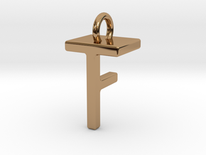 Two way letter pendant - FT TF in Polished Brass