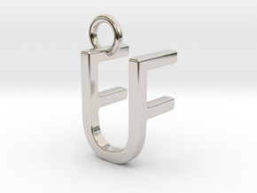 Two way letter pendant - FU UF in Rhodium Plated Brass