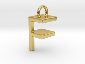 Two way letter pendant - FF F in Polished Brass