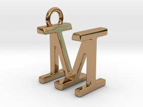 Two way letter pendant - IM MI in Polished Brass