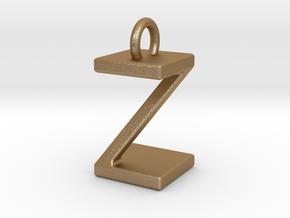 Two way letter pendant - ZZ Z in Polished Bronze Steel