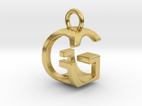 Two way letter pendant - GG G in Polished Brass