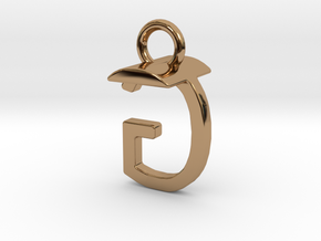 Two way letter pendant - GT TG in Polished Brass