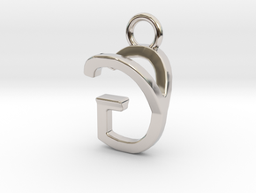 Two way letter pendant - GY YG in Rhodium Plated Brass