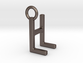 Two way letter pendant - HL LH in Polished Bronzed Silver Steel