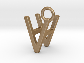 Two way letter pendant - HV VH in Matte Gold Steel