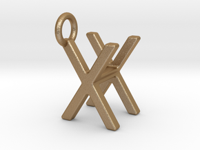 Two way letter pendant - HX XH in Matte Gold Steel