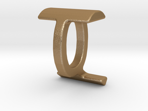 Two way letter pendant - IQ QI in Matte Gold Steel