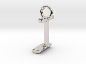 Two way letter pendant - IJ JI in Rhodium Plated Brass
