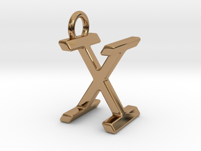 Two way letter pendant - IX XI in Polished Brass