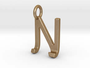 Two way letter pendant - JN NJ in Matte Gold Steel