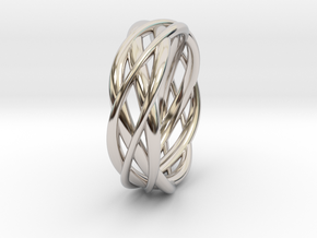 Mobius ring braid  in Rhodium Plated Brass: 8 / 56.75