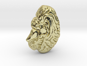Anatomical Brain Pendant in 18k Gold Plated Brass