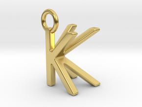 Two way letter pendant - KK K in Polished Brass