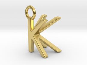 Two way letter pendant - KK K in Polished Brass