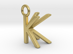 Two way letter pendant - KK K in Natural Brass