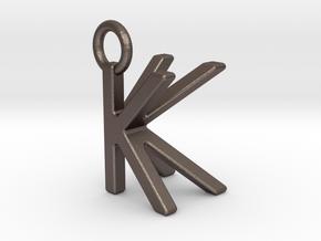 Two way letter pendant - KK K in Polished Bronzed Silver Steel