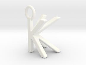 Two way letter pendant - KK K in White Processed Versatile Plastic