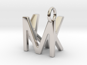 Two way letter pendant - KM MK in Rhodium Plated Brass