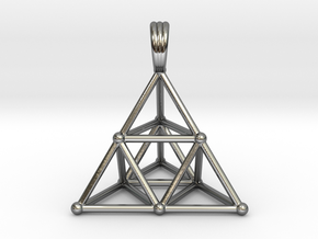 TETRAHEDRON (stage 2) PENDANT in Fine Detail Polished Silver