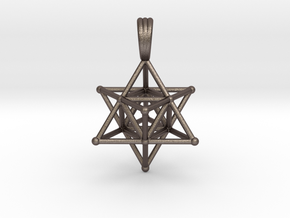 MERKABAH (pendant) in Polished Bronzed Silver Steel