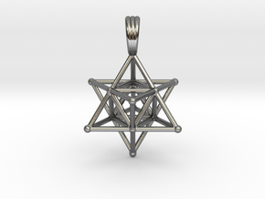 MERKABAH (pendant) in Fine Detail Polished Silver