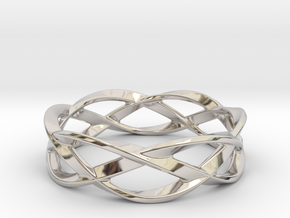 Weave Ring (Small) in Rhodium Plated Brass