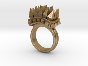 Ferocious Spiked Band (Size 8) in Polished Gold Steel
