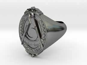 District Deputy Jewel Ring in Fine Detail Polished Silver