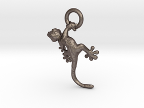 Gecko Pendant in Polished Bronzed Silver Steel