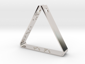 """""""Never Ever Give Up"""" Braille Triangle Pendant in Rhodium Plated Brass"""