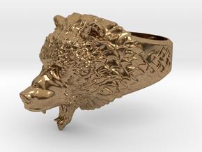 Roaring bear ring in Natural Brass: 6.5 / 52.75