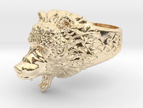 Roaring bear ring in 14K Yellow Gold: 6.5 / 52.75