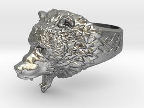 Roaring bear ring in Natural Silver: 6.5 / 52.75